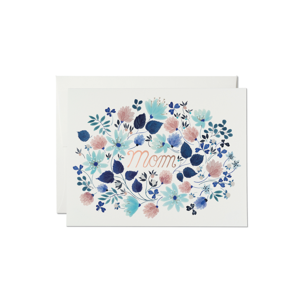 Blue Floral Burst Mom Card