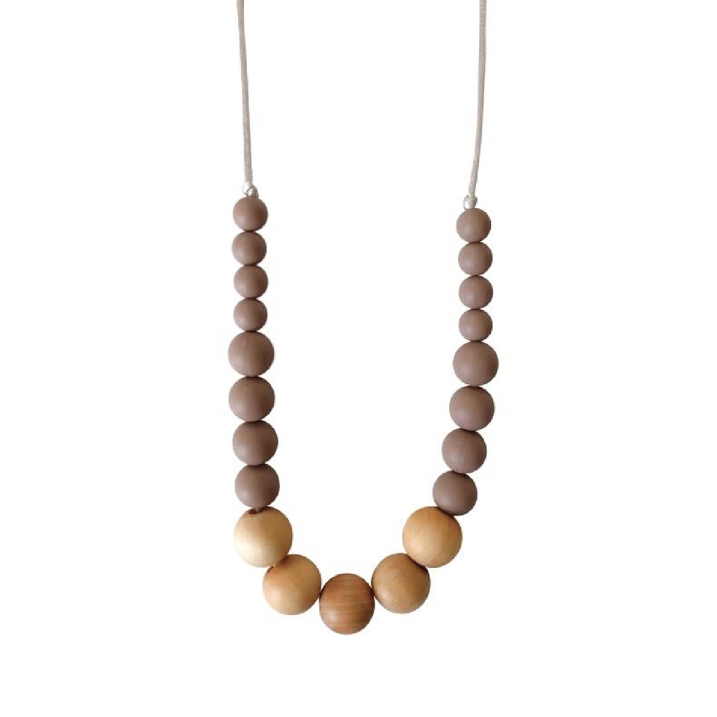 Landon Teething Necklace - Desert Taupe by Chewable Charm Chewable Charm Accessories