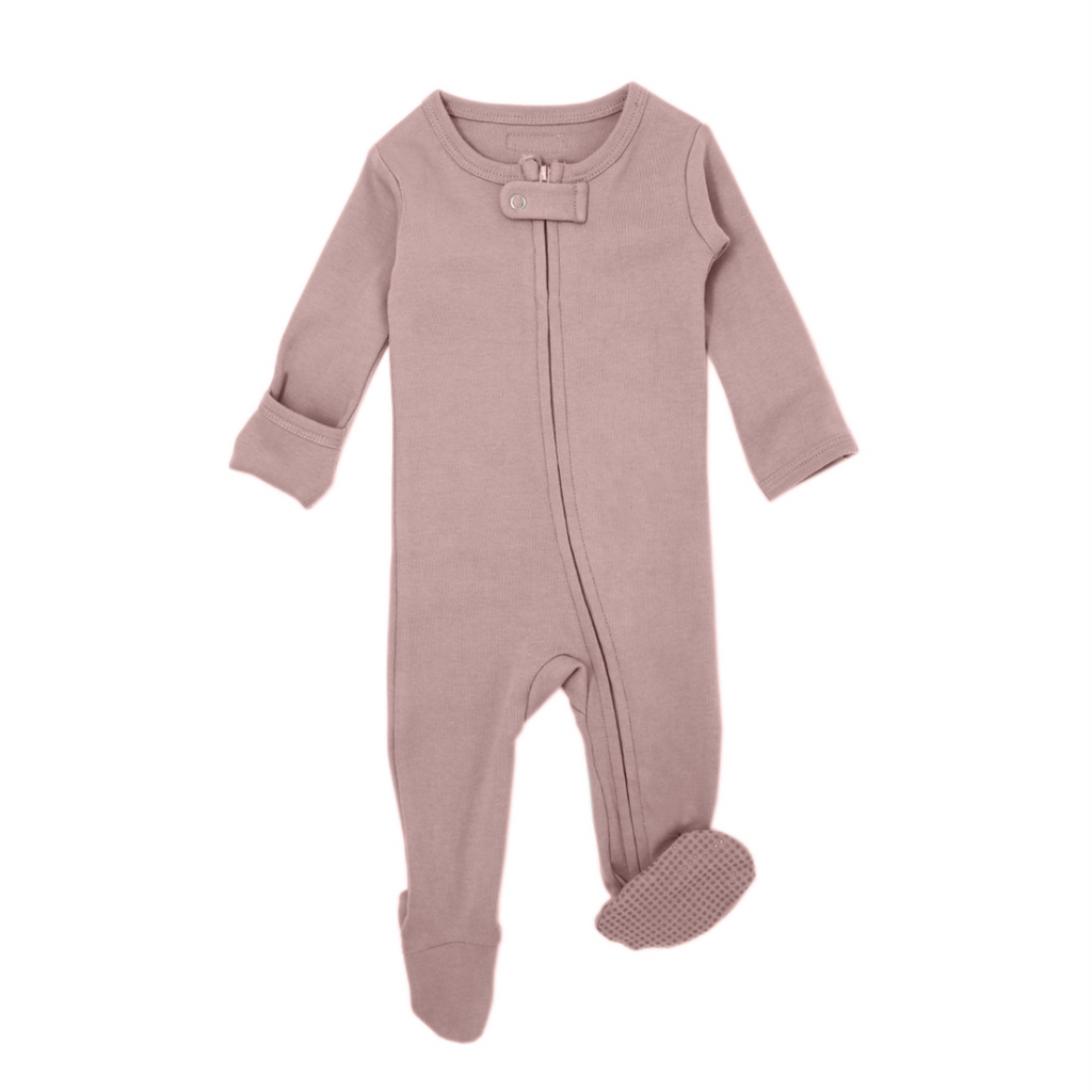 Organic Zipper Footed Overall - Mauve by Loved Baby