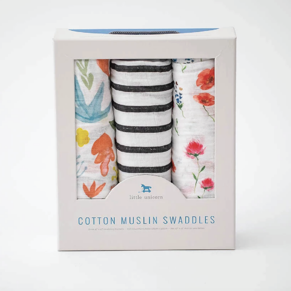 Cotton Muslin Swaddle 3-Pack - Wild Mum by Little Unicorn Little Unicorn Bedding