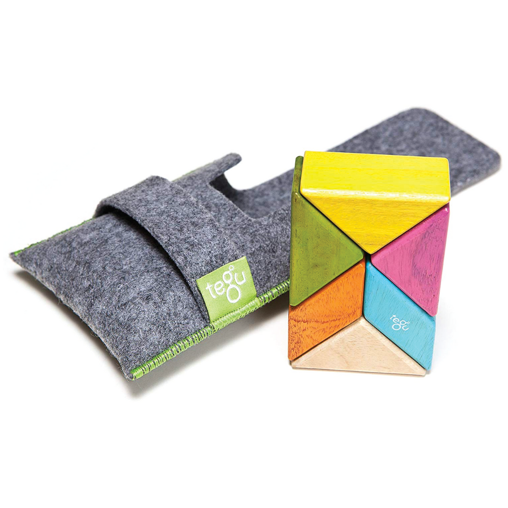 Magnetic Block Set 6 Pc Prism Pocket Pouch - Tints by Tegu Tegu Toys