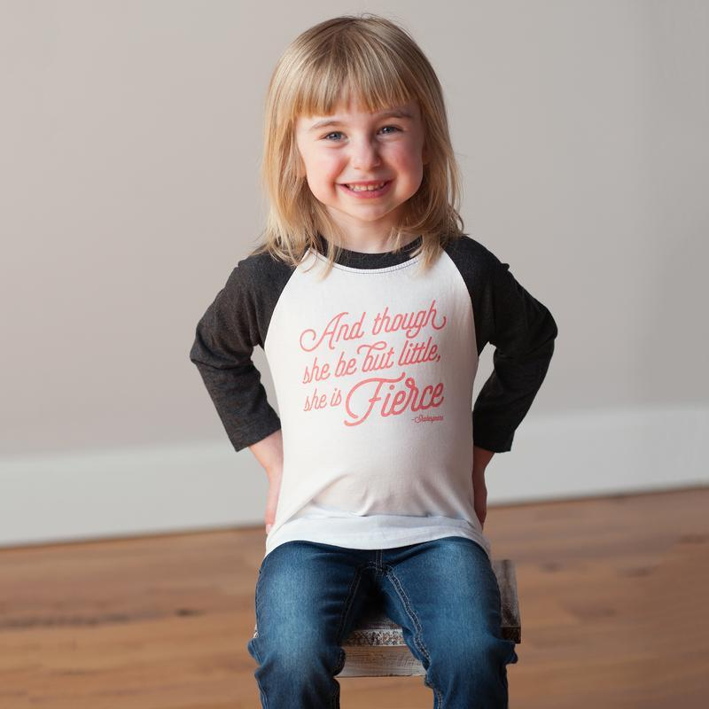 Cotton Raglan Tee - She is Fierce Sweetpea + Co Apparel
