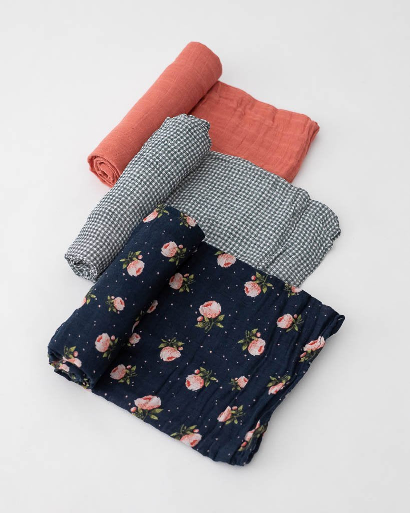 Cotton Muslin Swaddle 3-Pack - Midnight Rose by Little Unicorn