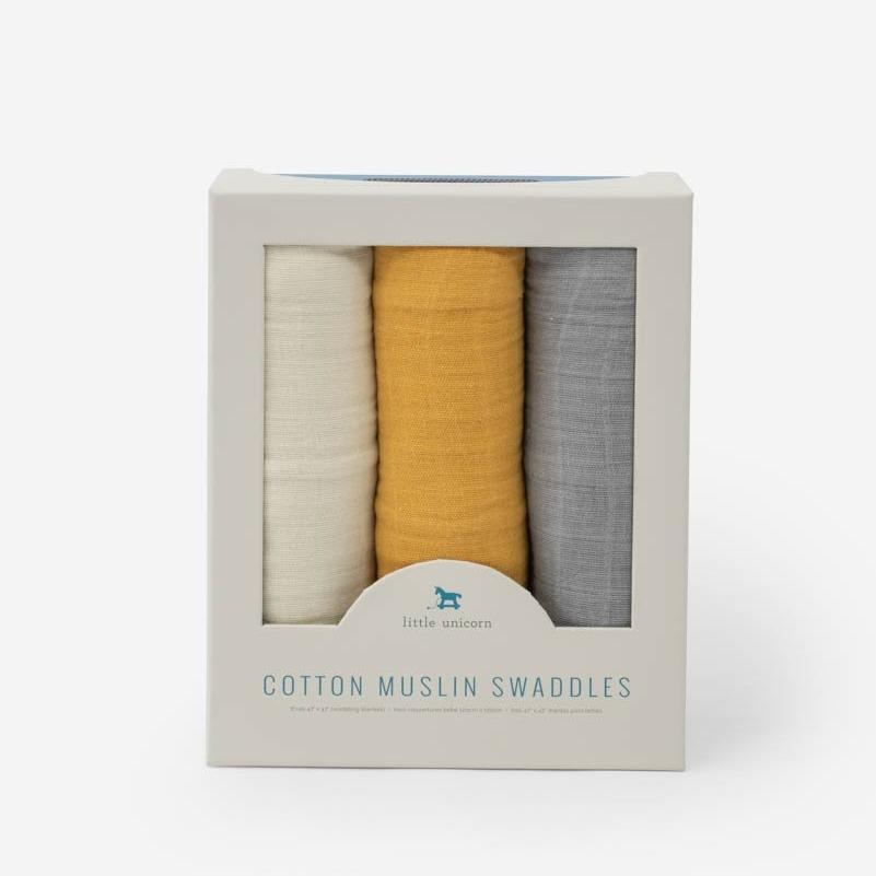 Cotton Muslin Swaddle 3-Pack - Mustard by Little Unicorn
