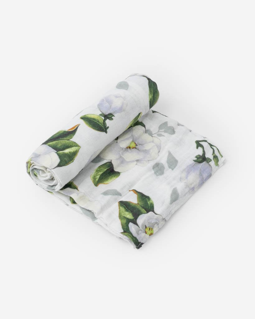 Cotton Muslin Single Swaddle - Magnolia Blossoms by Little Unicorn