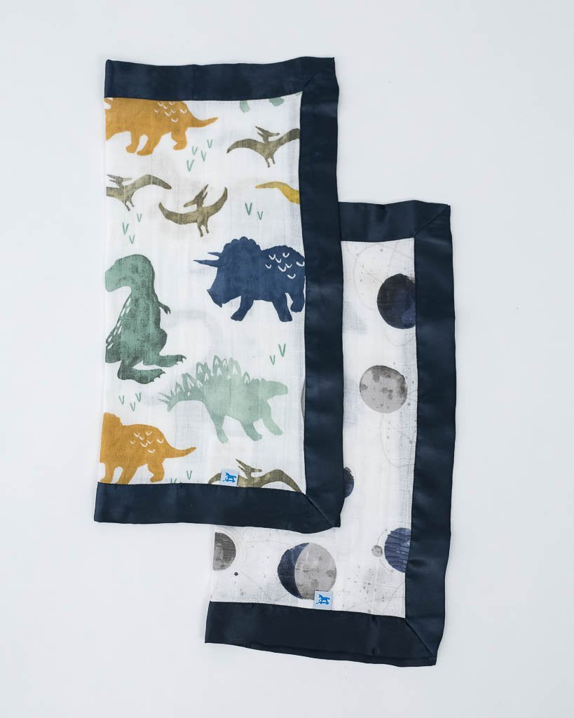 Cotton Muslin Security Blanket 2-Pack - Dino Friends/Planetary by Little Unicorn