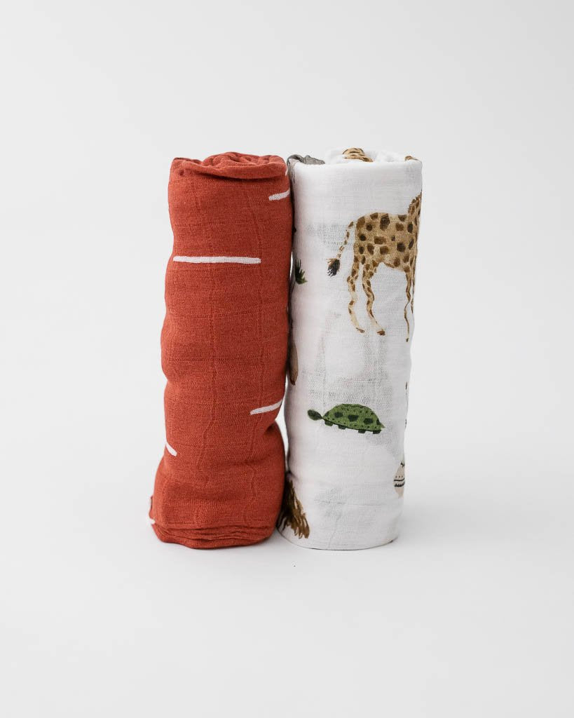 Deluxe Bamboo Swaddle 2-Pack - Safari Social by Little Unicorn