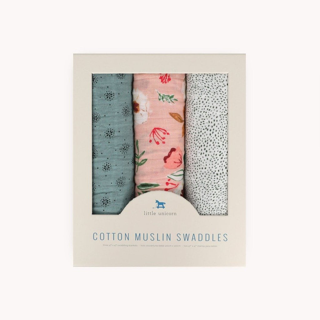 Cotton Muslin Swaddle 3-Pack - Vintage Floral by Little Unicorn