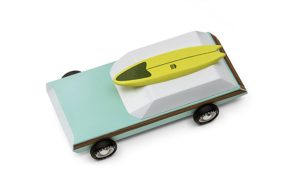 Woodie Redux Turquoise Car with Magnetic Surfboard by Candylab Toys