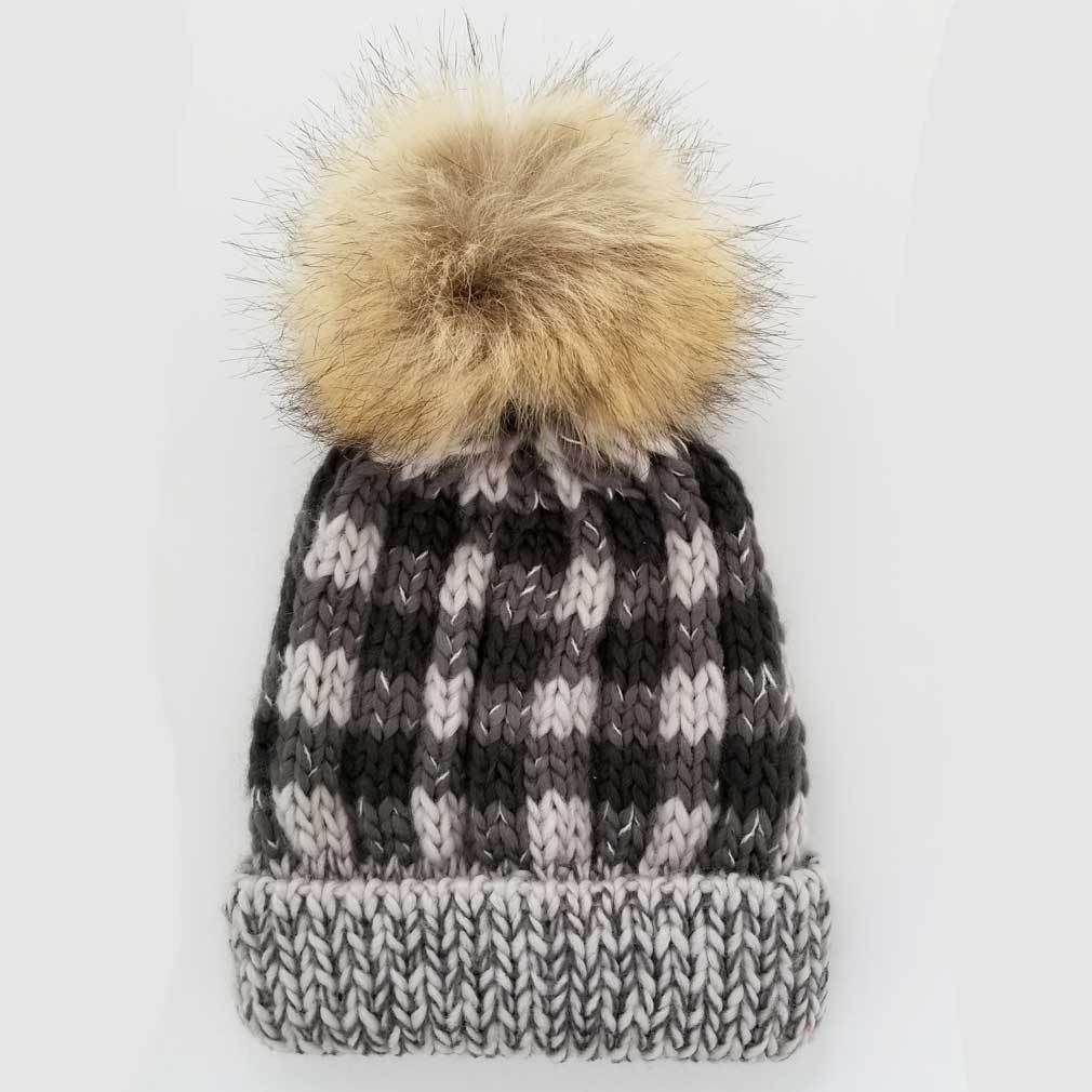 Buffalo Check Knit Hat - Grey by Huggalugs Huggalugs Accessories