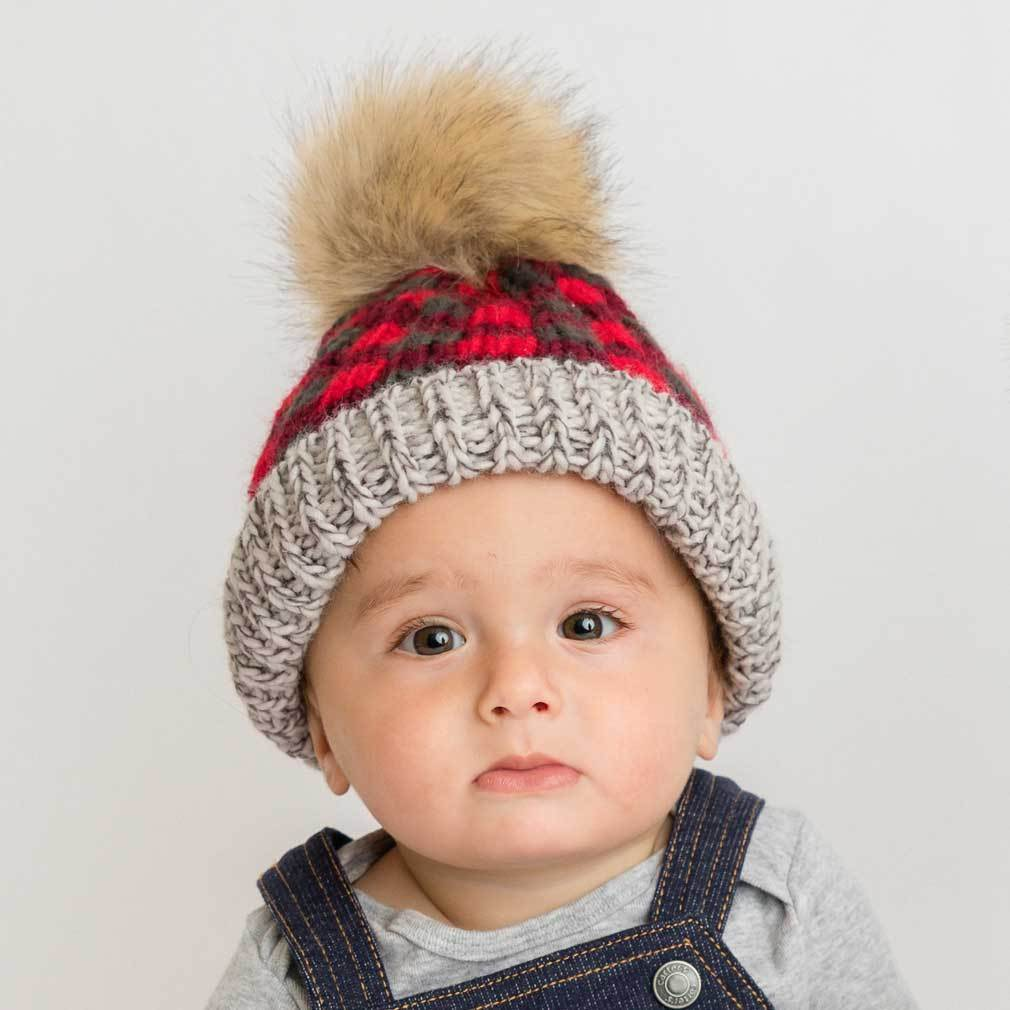 Buffalo Check Knit Hat - Red by Huggalugs