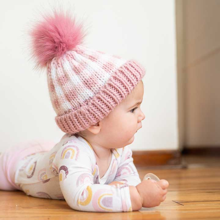 Buffalo Check Knit Hat - Pink by Huggalugs
