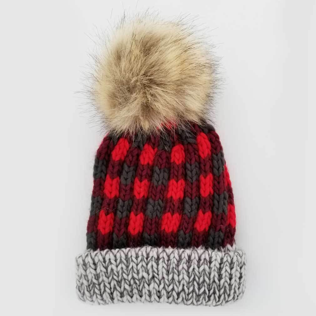 Buffalo Check Knit Hat - Red by Huggalugs Huggalugs Accessories