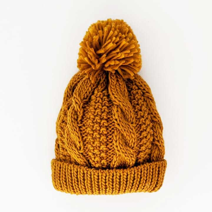 Saffron Gold Cable Beanie by Huggalugs