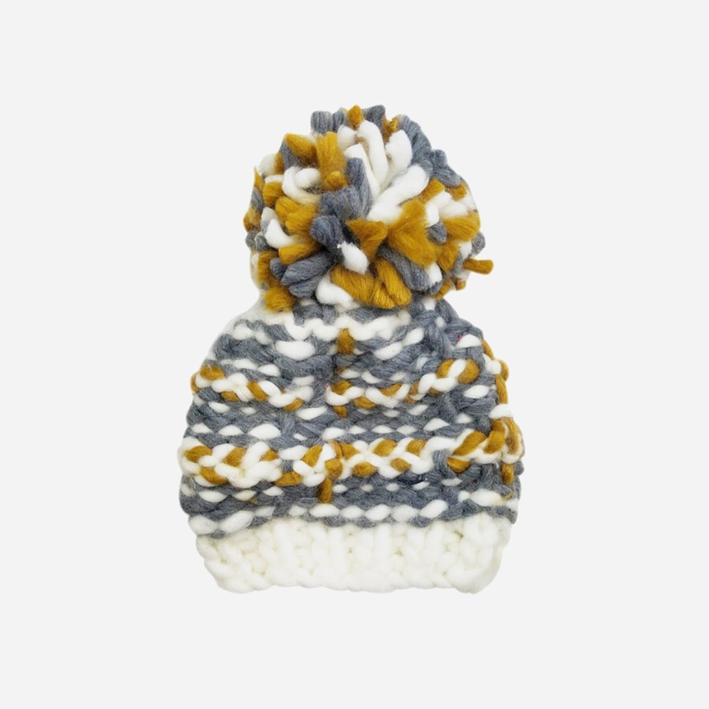 Hand Knit Pom Hat - Charlie Plaid Grey by The Blueberry Hill