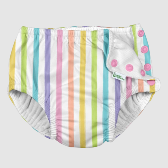 Snap Reusable Absorbent Swim Diaper - Rainbow Stripe by iPlay