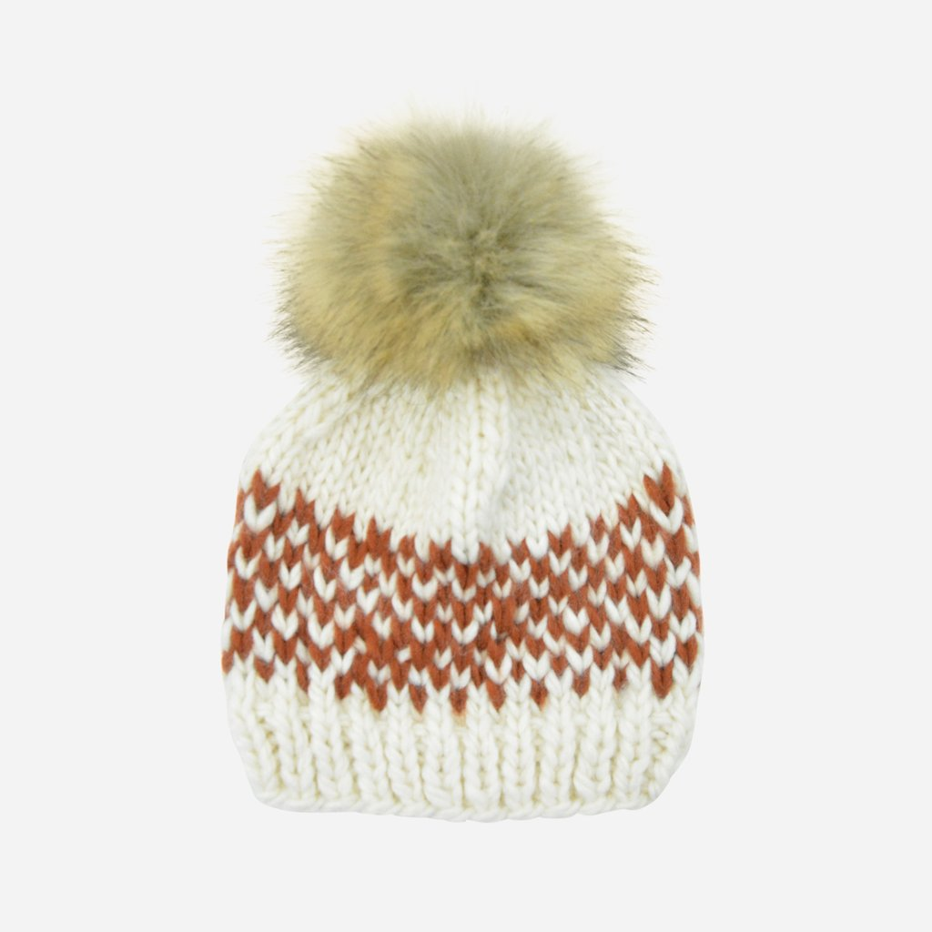 Hand Knit Pom Hat - Fair Isle Stripe by The Blueberry Hill