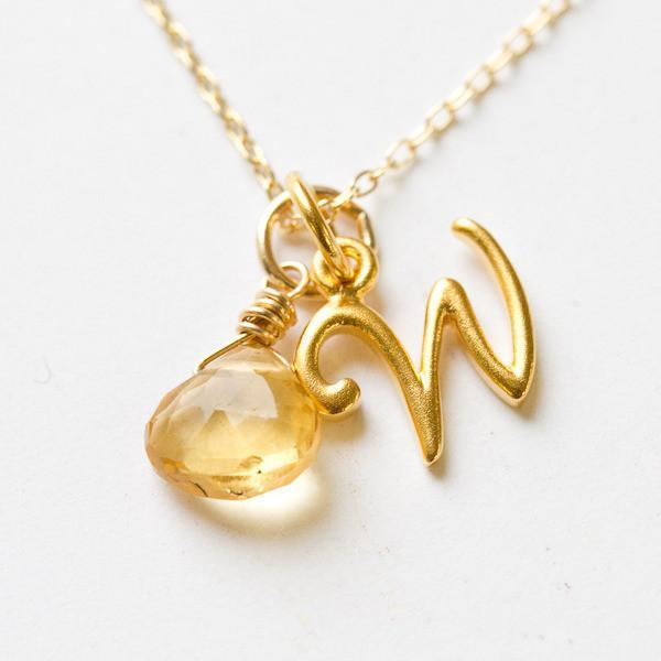 Gold Script Initial Pendant by Wallin + Buerkle