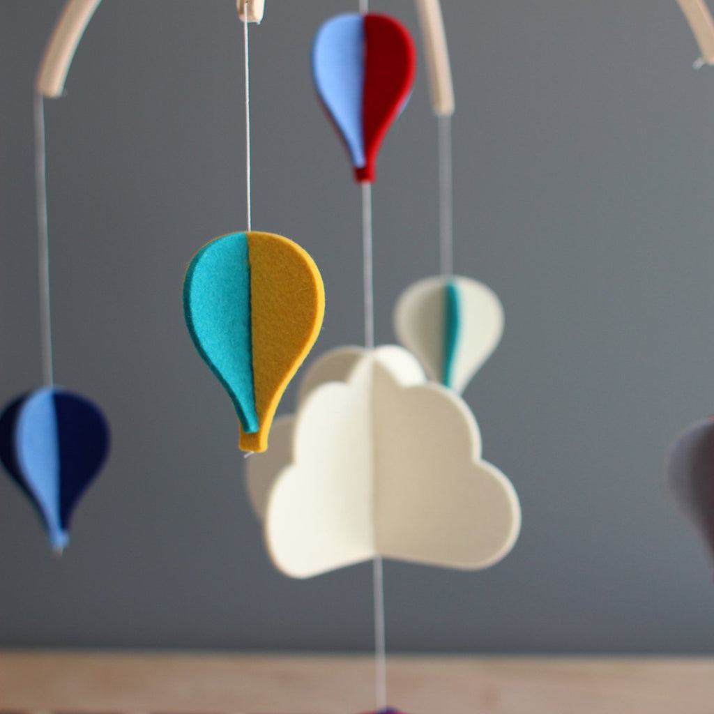 Felt Mobile - Rainbow Hot Air Balloons by Dundry Hill
