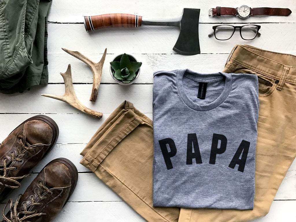 Papa Crew Neck T-Shirt - Heather Grey by Gladfolk