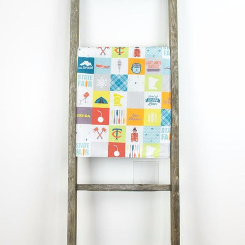 Minnesota Patchwork Baby Blanket - Large Silver Cuddle - Pacifier
