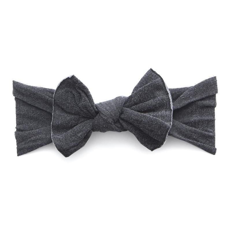 Patterned Knot Headband - Stonewash Charcoal by Baby Bling