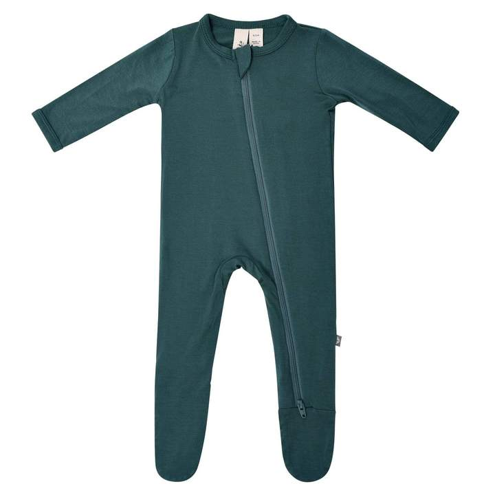 Solid Footie with Zipper - Emerald by Kyte Baby