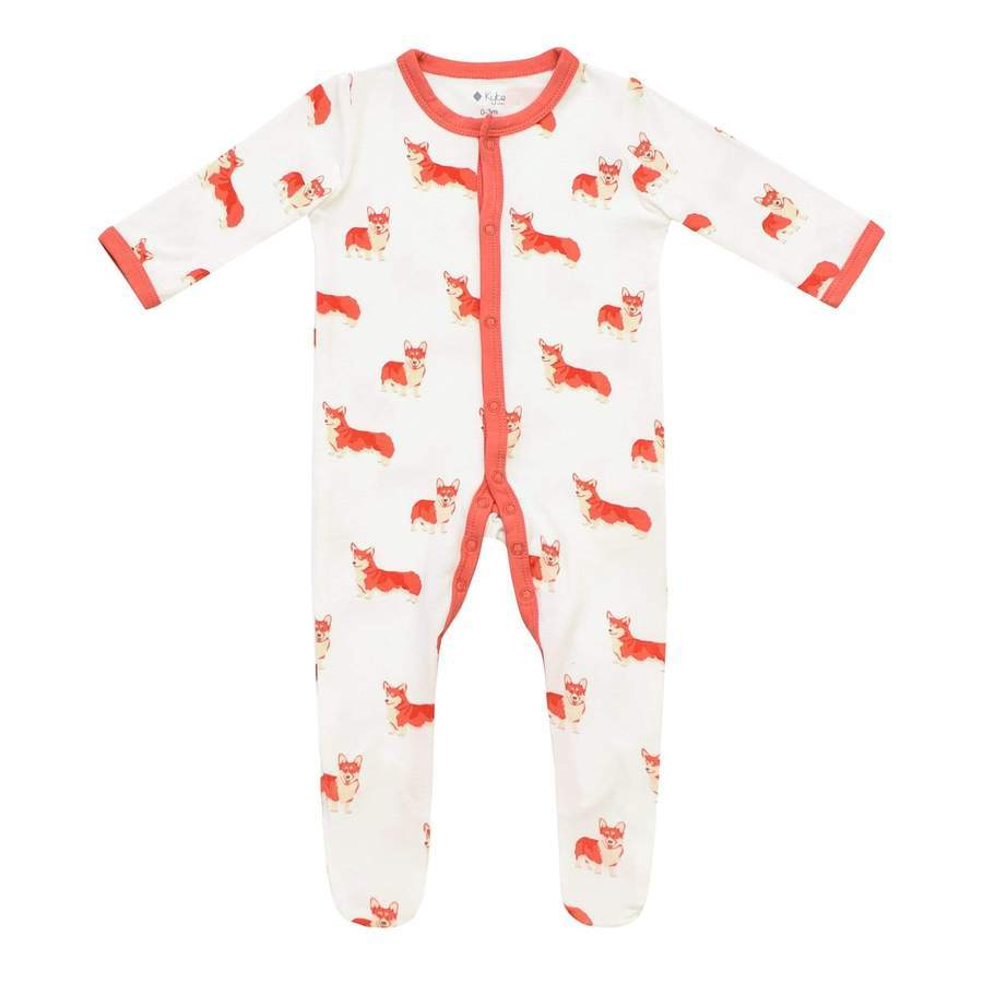 Printed Footie with Zipper - Corgi by Kyte Baby