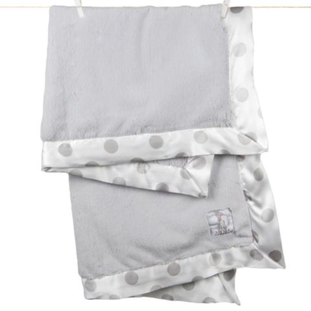 Luxe New Dot Baby Blanket - Silver by Little Giraffe Little Giraffe Bedding