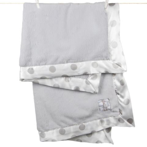Luxe New Dot Baby Blanket - Silver by Little Giraffe - Pacifier