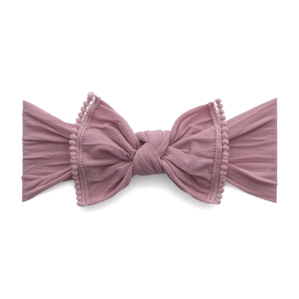 Trimmed Classic Knot Mini Pom Headband - Mauve by Baby Bling