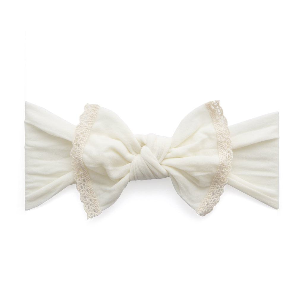 Trimmed Classic Knot Headband - Ivory Lace by Baby Bling Baby Bling Accessories