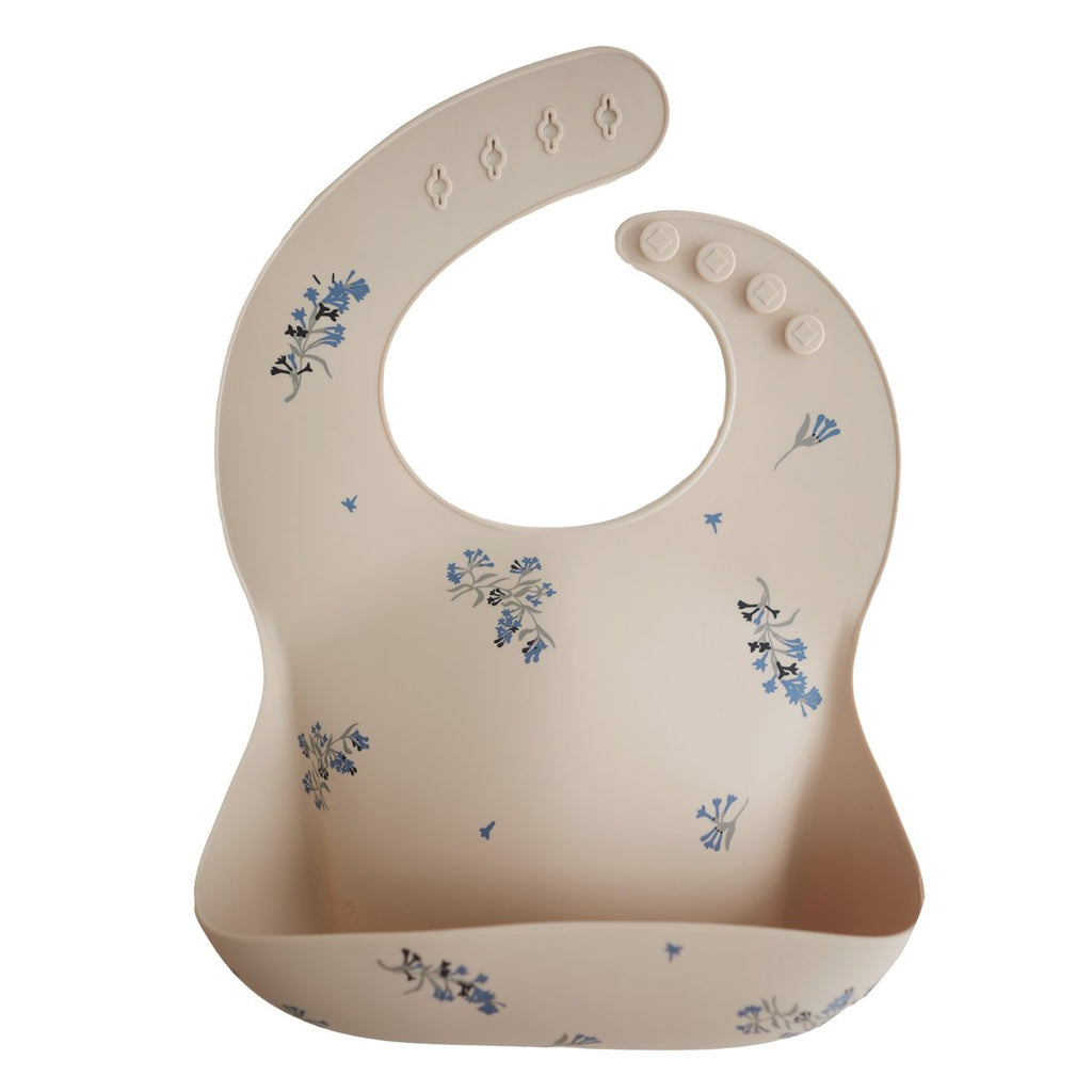Silicone Bib - Lilac Flowers by Mushie & Co Mushie & Co Nursing + Feeding