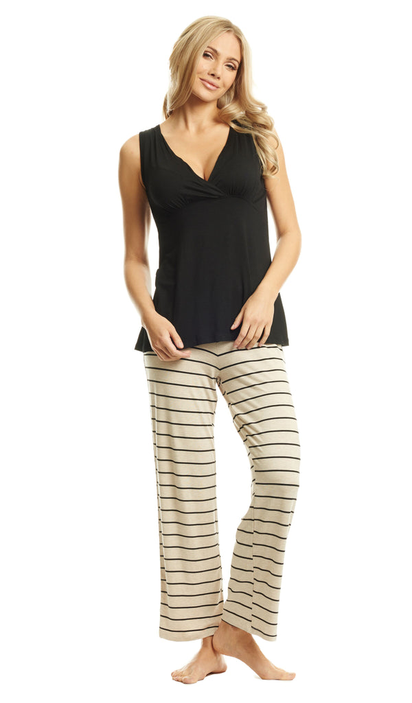 Analise 5-Piece PJ Set - Sand Stripe by Everly Grey Everly Grey Apparel