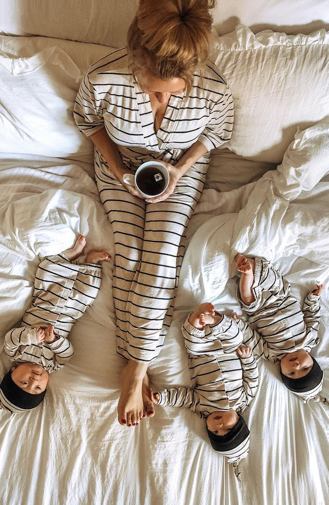 Analise 5-Piece PJ Set - Sand Stripe by Everly Grey