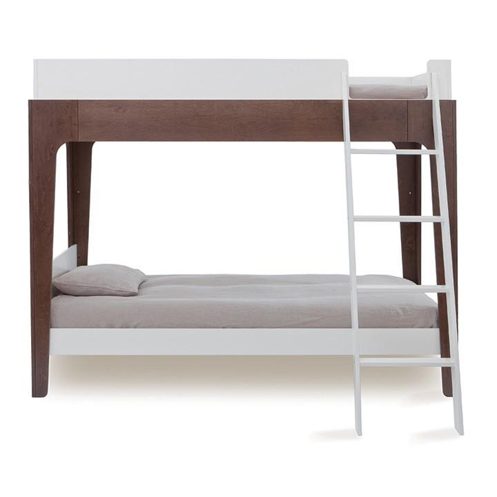 Perch Twin Bunk Bed - White / Walnut by Oeuf Oeuf Furniture