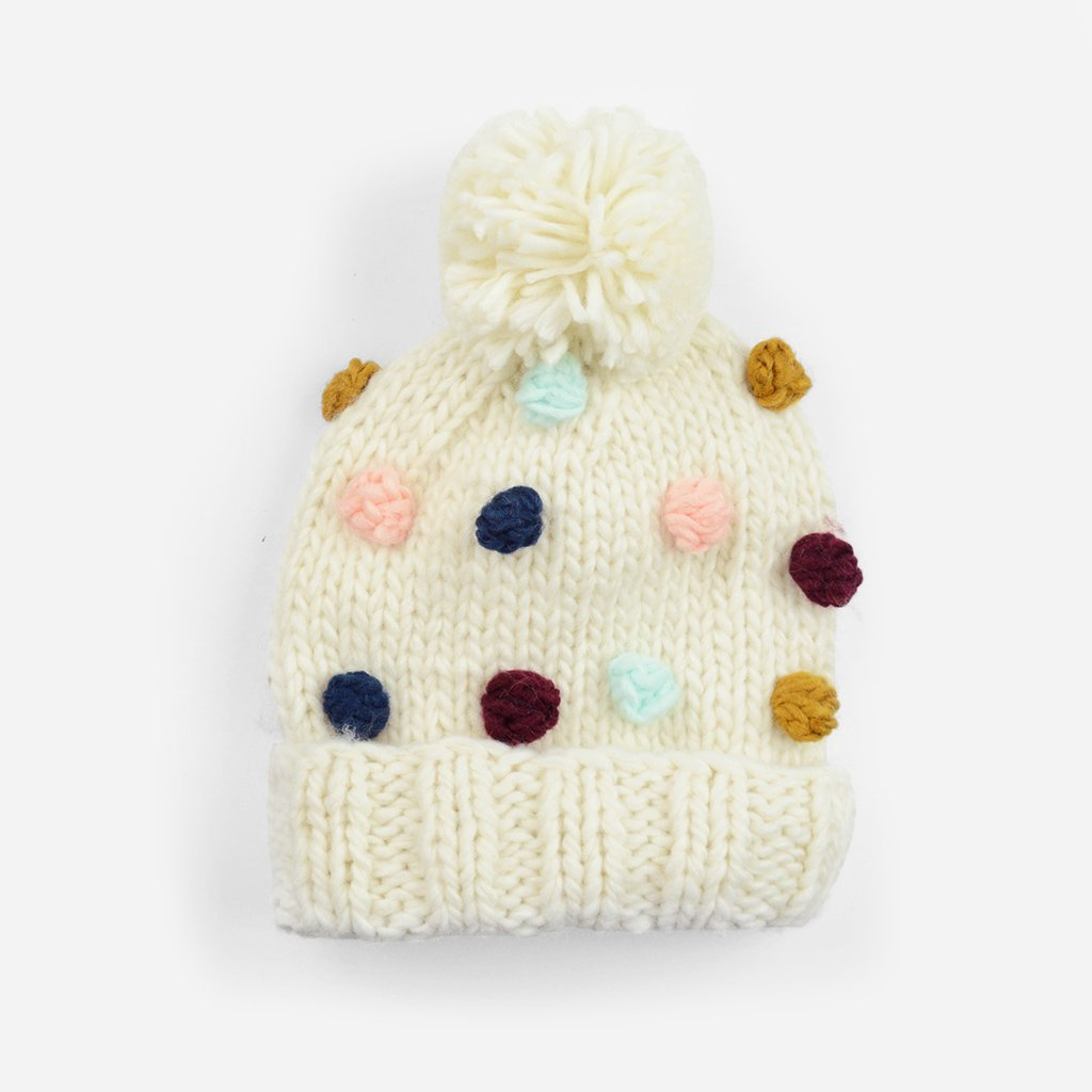 Hand Knit Pom Hat - Percy Dot Rich by The Blueberry Hill