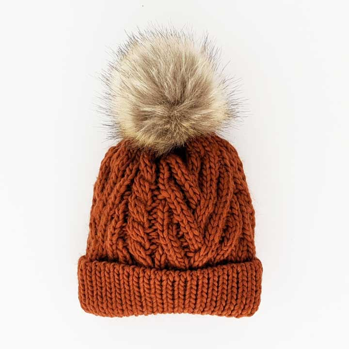 Pop Pom Knit Hat - Chili by Huggalugs