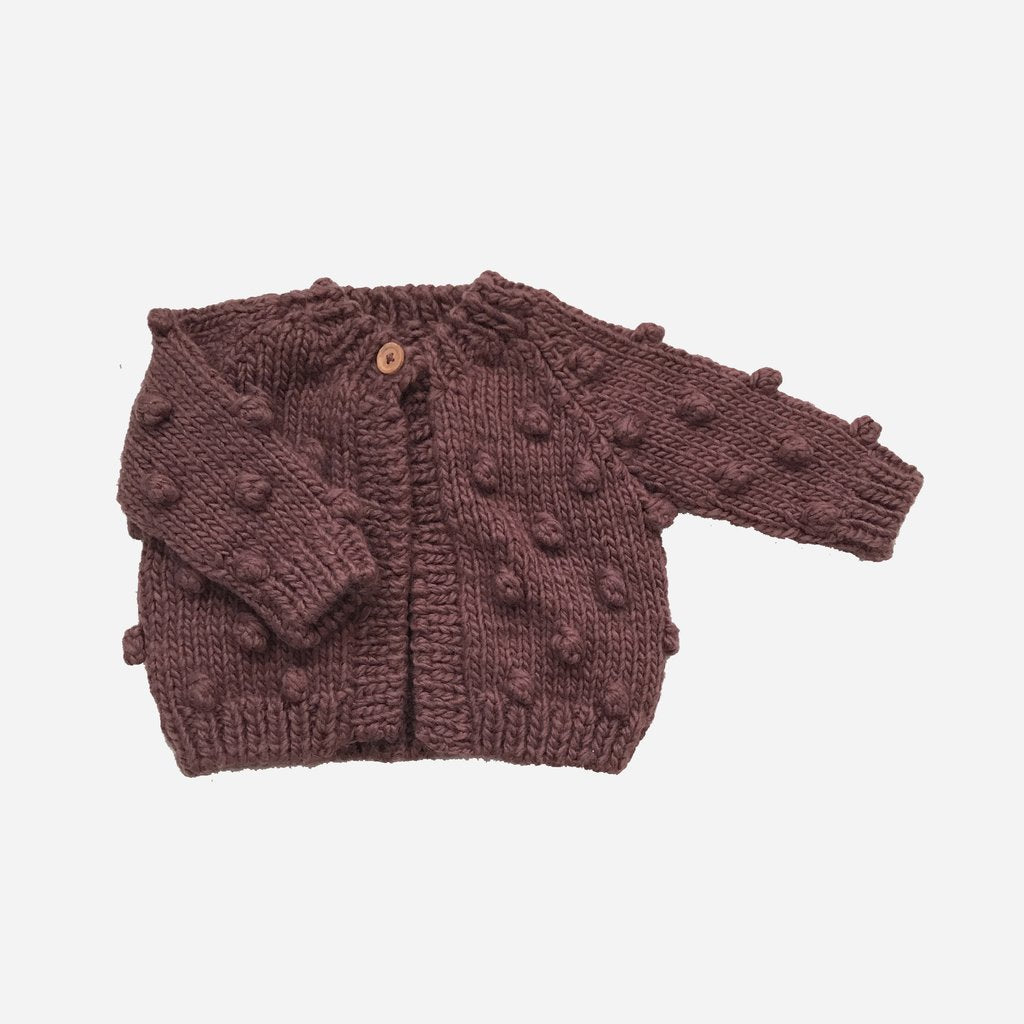 Popcorn Cardigan Sweater - Mauve by The Blueberry Hill