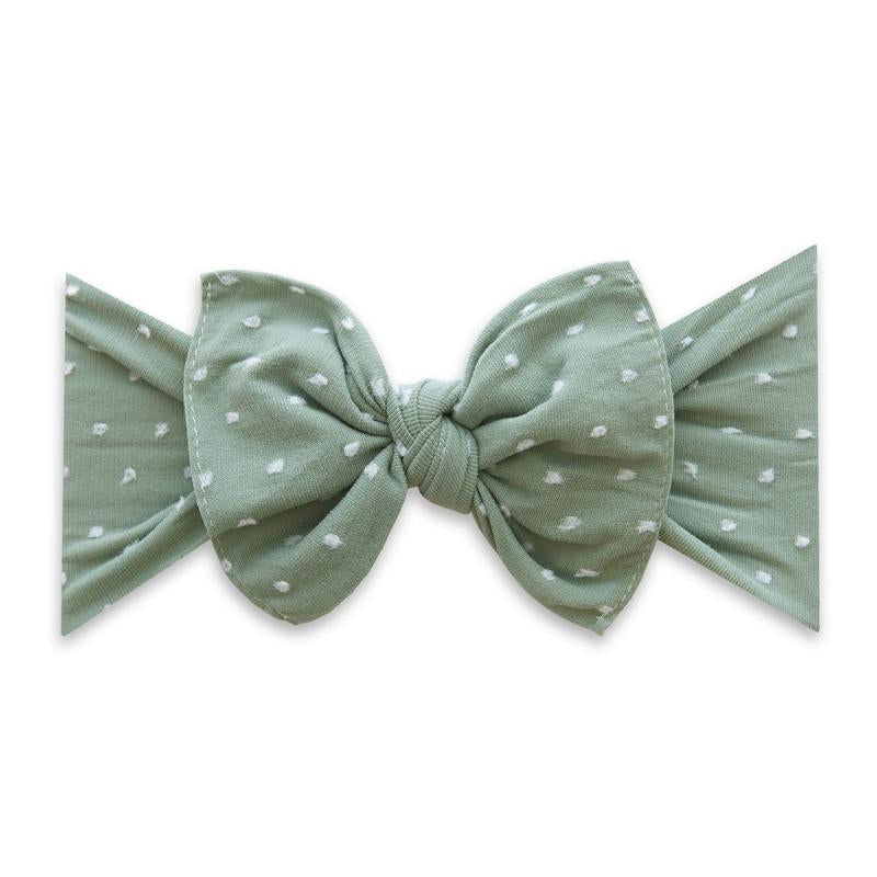 Patterned Shabby Knot Headband - Sage Dot by Baby Bling