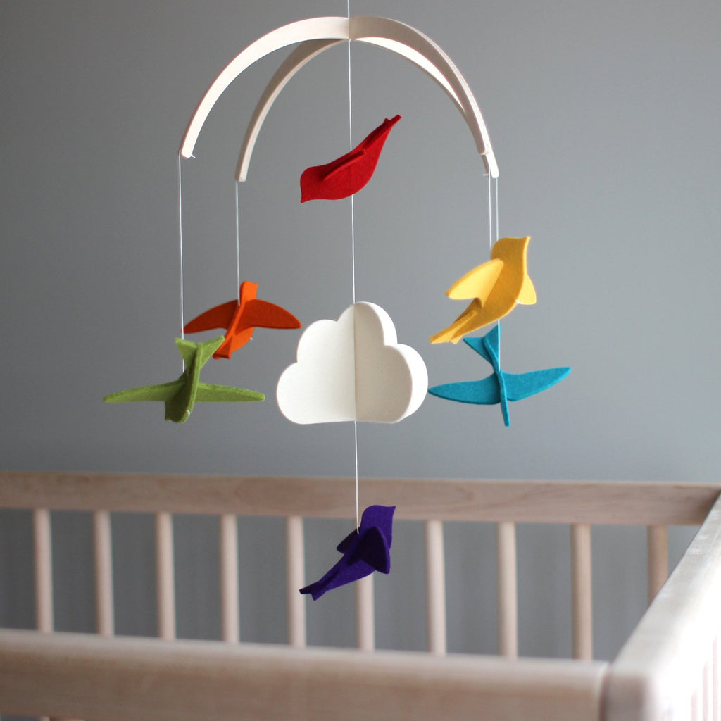 Felt Mobile - Rainbow Birds by Dundry Hill Dundry Hill Decor
