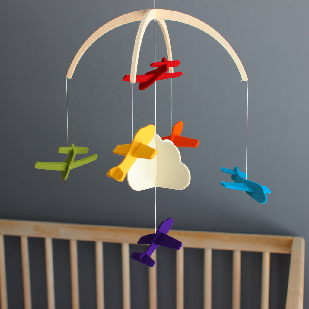 Felt Mobile - Rainbow Airplanes by Dundry Hill