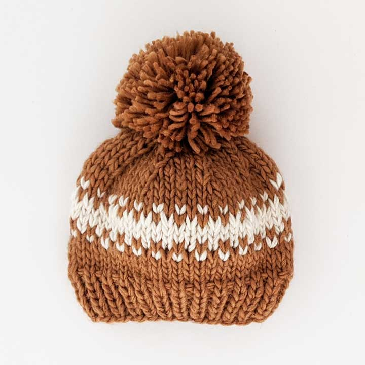 Rebel Pecan Knit Hat - Cream by Huggalugs
