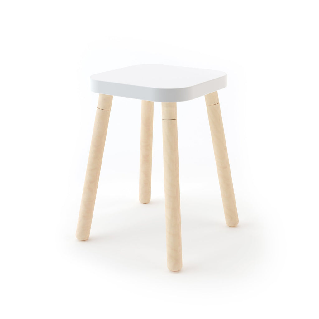 Square Stool - Birch / White by Oeuf