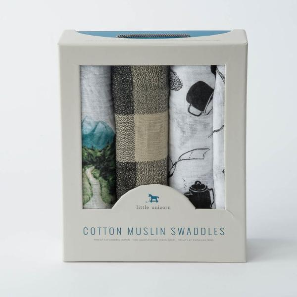 Cotton Muslin Swaddle 3-Pack - Happy Camper by Little Unicorn