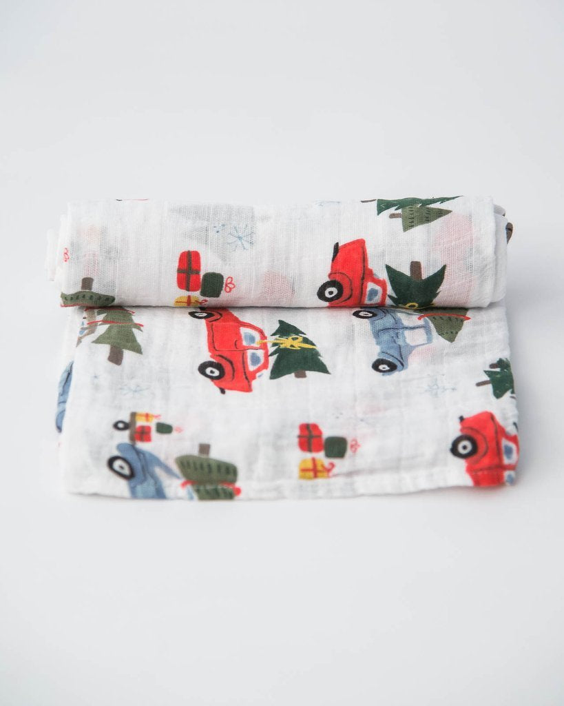 Cotton Muslin Single Swaddle - Holiday Haul by Little Unicorn