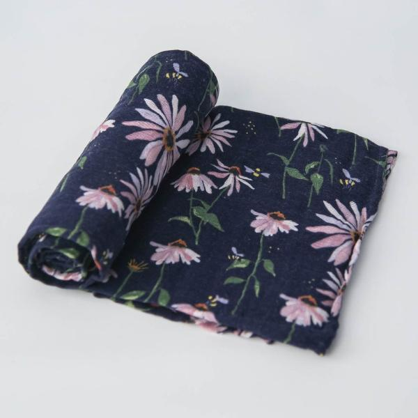 Cotton Muslin Single Swaddle - Dark Coneflower by Little Unicorn