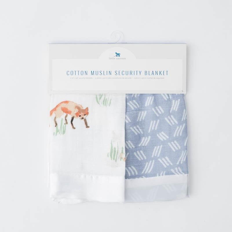 Cotton Muslin Security Blanket 2-Pack - Fox + Blue Grass by Little Unicorn