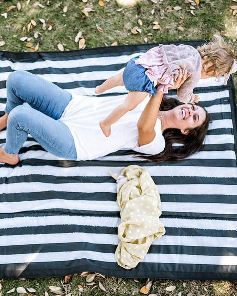 Outdoor Blanket - Black + White Stripe by Little Unicorn