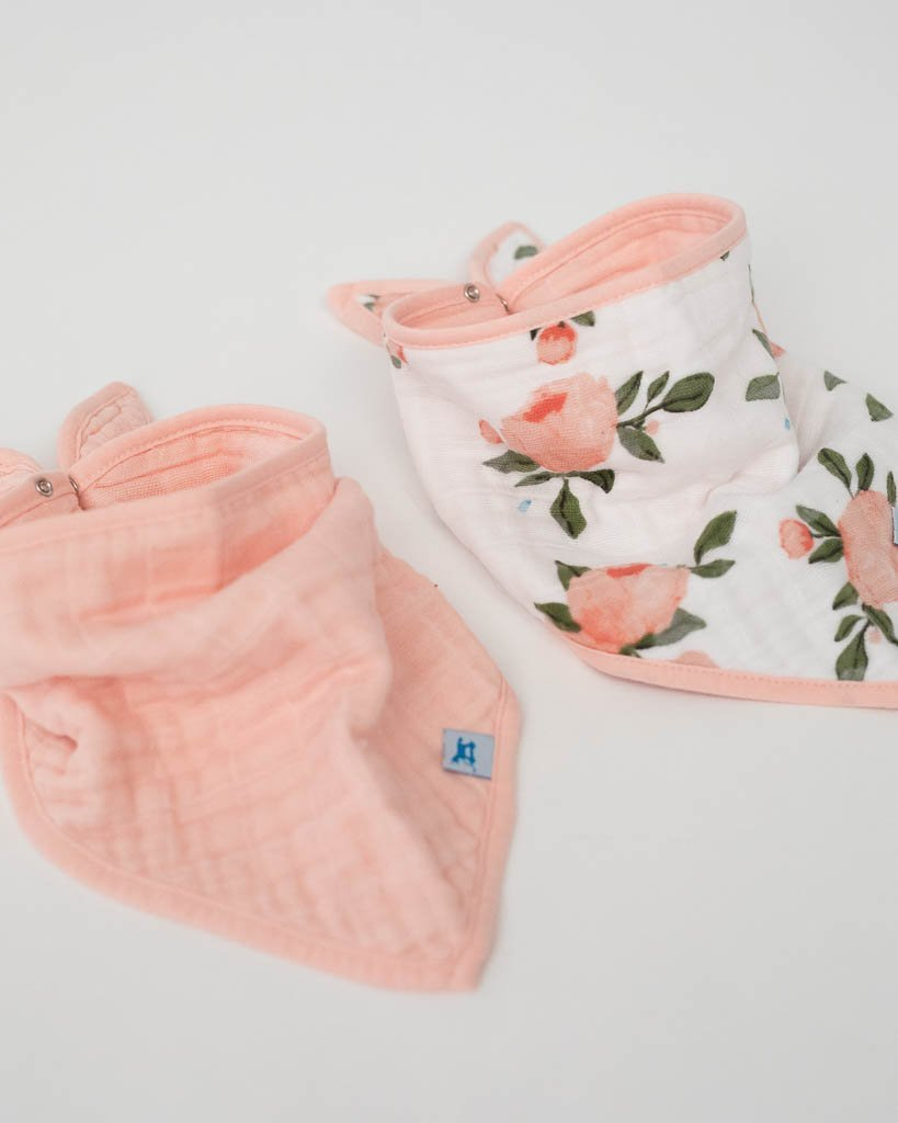 Cotton Bandana Bib 2-Pack - Watercolor Rose by Little Unicorn